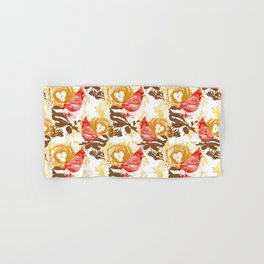 Cardinal Chickadee Pattern Hand & Bath Towel