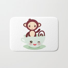 Cute Kawai pink cup with brown monkey Bath Mat