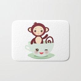 Cute Kawai pink cup with brown monkey Bath Mat