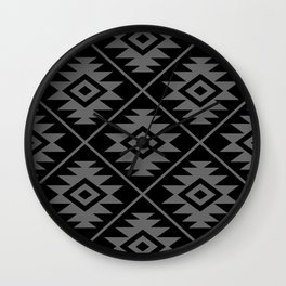 Aztec Symbol Pattern Gray on Black Wall Clock