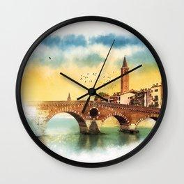 Bridge in Verona Wall Clock