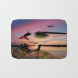 Sunset Take-off - Gull Painted with Sunset Colors Bath Mat