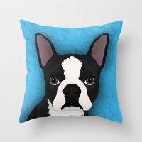 terrier Throw Pillows featuring Boston terrier by Nir P