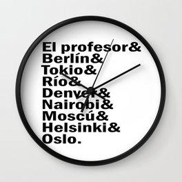 La casa de papel / Money Heist squad. (version 3, in black) Wall Clock