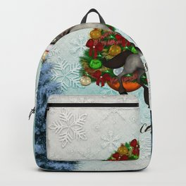 Christmas, funny horse with christmas hat Backpack