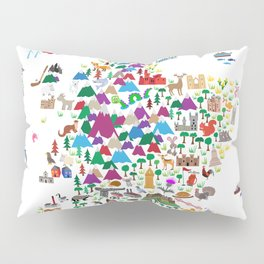 Animal Map of Scotland for children and kids Pillow Sham
