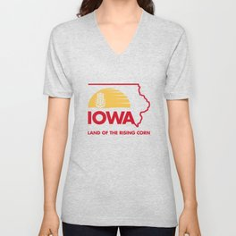 Iowa: Land of the Rising Corn - Red and Gold Edition Unisex V-Neck