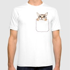 Pocket cat MEDIUM Mens Fitted Tee White