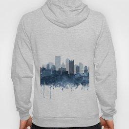 Pittsburgh City Skyline Watercolor Blue by Zouzounio Art Hoody