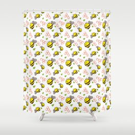 Cuddly Bees and Hives Shower Curtain