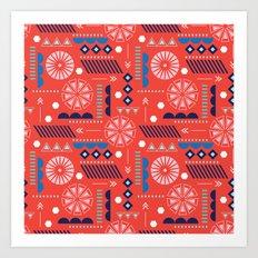 GEOMETRIC RED Art Print