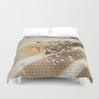 poetry Duvet Covers featuring Vintage poetry by Viviana Gonzalez