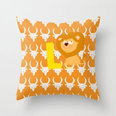 l for lion Throw Pillow