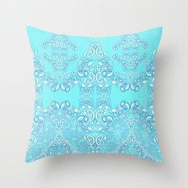 Aqua Damask Throw Pillow