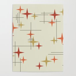 Mid Century Modern Stars Poster