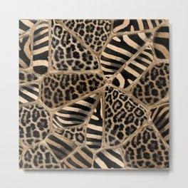 Animal Print - Leopard and Zebra - pastel gold Metal Print