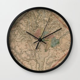 Vintage Washington DC Civil War Defenses Map (1864) Wall Clock