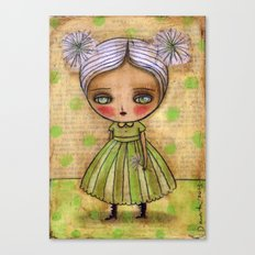 Dandelion Girl in Yellow And Green Canvas Print