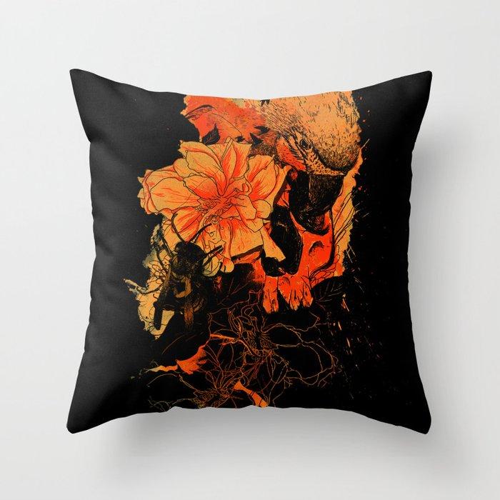 Pollination Dark Fire Throw Pillow