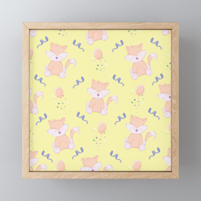Happy Birthday Orange Fox on Yellow Background Pattern Framed Mini Art Print