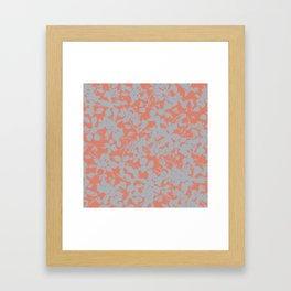 Floral Silhouette Pattern - Broken but Flourishing in Coral Framed Art Print