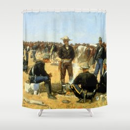 "Frederic Remington Western Art ""Cavalryman's Breakfast"" Shower Curtain"