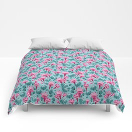 Pink & Teal Lovely Floral Comforters