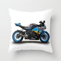 honda Throw Pillows featuring Honda CBR fireblade. by cjsphotos