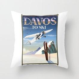 Davos ski poster Throw Pillow