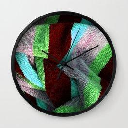 Multicolor Stripe Textile 5 Wall Clock