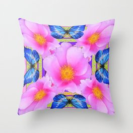 Blue Silken Butterflies Pink Camellias Patterned Abstract Throw Pillow