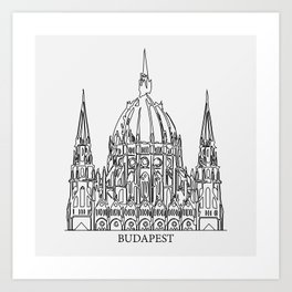 """"""" Travel Collection """" - Budapest Print With Grey Background Art Print"""