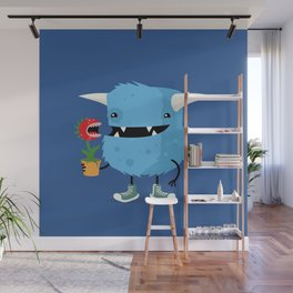 Monster and his pet plant carnivore Wall Mural