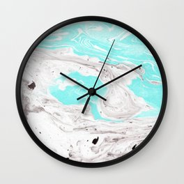 Turquoise and gray marbled effect Wall Clock