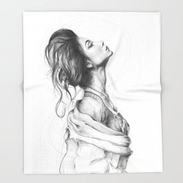 Pretty Lady Illustration Woman Portrait Beauty Throw Blanket