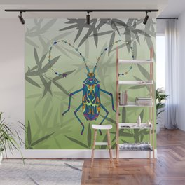 Insect Bamboo leaves Green Unique Pattern Wall Mural