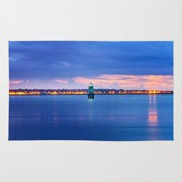 Blue hour. Dublin port Rug