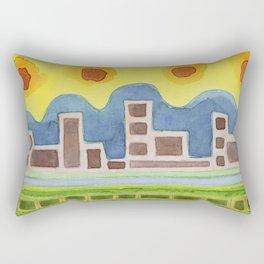 Surreal Simplified Cityscape Rectangular Pillow