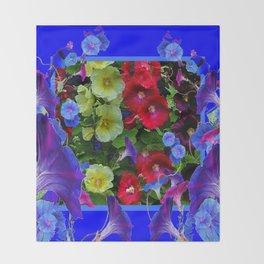 HOLLYHOCKS & MORNING GLORIES COTTAGE BLUE ART Throw Blanket