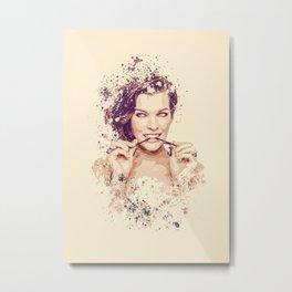 Milla Jovovich splatter painting Metal Print