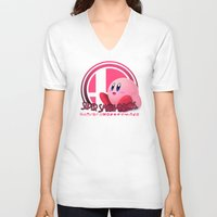 super smash bros V-neck T-shirts featuring Kirby - Super Smash Bros. by Donkey Inferno
