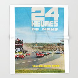 1965 Le Mans poster, Race poster, car poster, garage poster Throw Blanket