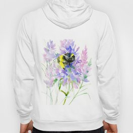 Bumblebee and Lavender Flowers, nature bee honey making decor Hoody