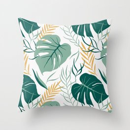 Tropical Pattern Green Gold Throw Pillow