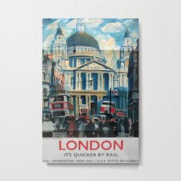 London Vintage Travel Poster Metal Print