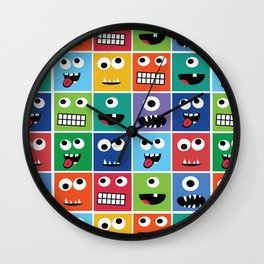 Cute Kids Monster Face Pattern Wall Clock