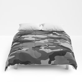 Camouflage Art1 Black and White Comforters