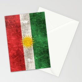 Vintage Aged and Scratched Kurdish Flag Stationery Cards