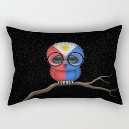Baby Owl with Glasses and Filipino Flag Rectangular Pillow