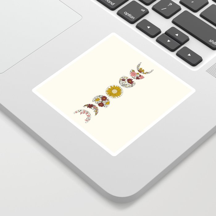 Floral Phases of the Moon Sticker
